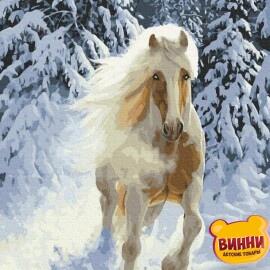 Купити картину за номерами RainbowArt Кінь у зимовому лісі , 40*50 см, GX37227