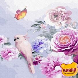 Купити картину за номерами RainbowArt Рожевий папужка на квітах, 40*50 см, GX33352
