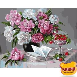 Купити картину за номерами STRATEG Піони та вишні 40*50 см, VA-0313
