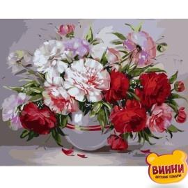 Купити картину за номерами STRATEG Букет з червоно-рожевих піонів 40*50 см, VA-0894