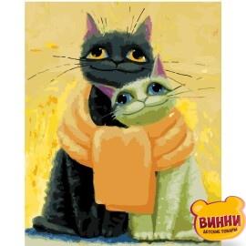 Купити картину за номерами STRATEG Котики, замонаті шарфом 40*50 см, VA-2669