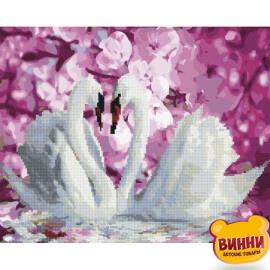 Купити алмазну картину - розмальовку за номерами 2в1 Лебеді, GZS1071