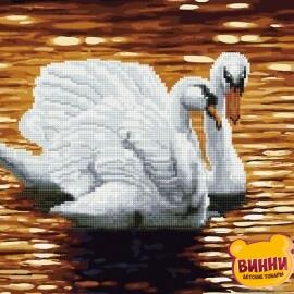 Купити алмазну картину - розмальовку за номерами 2в1 Лебеді, GZS1112