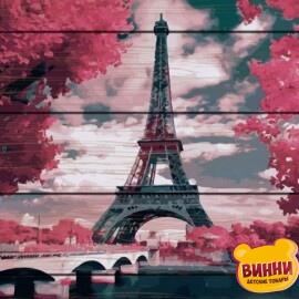 Купити картину за номерами на дереві RainbowArt Ліловий Париж 40*50 см, GXT24449