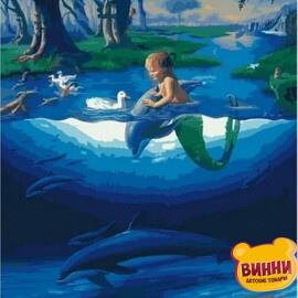 Купити картину за номерами RainbowArt Русалка та дельфіни, 40*50 см, GX28270