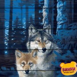 Купити картину за номерами на дереві RainbowArt Вовки 40*50 см, GXT28852