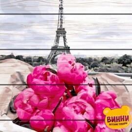 Купити картину за номерами на дереві RainbowArt Півонії в Парижі 40*50 см, GXT31855