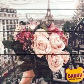 Купити картину за номерами на дереві RainbowArt Троянди в Парижі 40*50 см, GXT32929