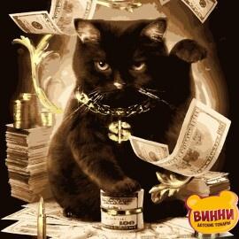 Купити картину за номерами Artissimo Грошовий кіт, із золотою фарбою 40*50 см, PN5585