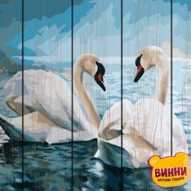 Купити картину за номерами на дереві RainbowArt Лебеді 40*50 см, GXT7648