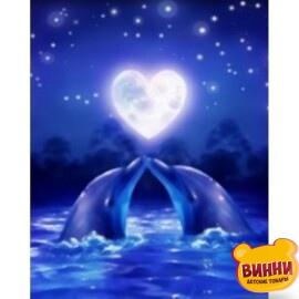 Купити алмазну мозаїку Дельфіни 30*40 см, на підрамнику, в коробці, H8447