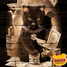 Купити картину за номерами на дереві RainbowArt Грошовий кіт 40*50 см, GXT8911