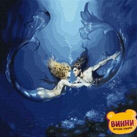 Купити картину за номерами Ідейка Підводне кохання з фарбами металік, 50*50 см KHO9526