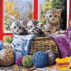 Купити картину за номерами RainbowArt Кошенята у кошику, 40*50 см, GX36646