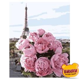 Купить картину по номерам Пионы на фоне Парижа, 40*50 см, VA-1204