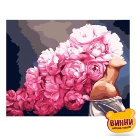 Купити картину за номерами STRATEG Дівчина та півонії, 40*50 см, VA-2533