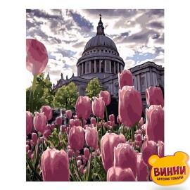 Купити картину за номерами STRATEG Клумба тюльпанів, 40*50 см, VA-2547