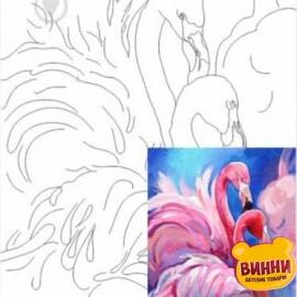 Купить холст с контуром 30*40 см в пленке, ROSA START Фламинго