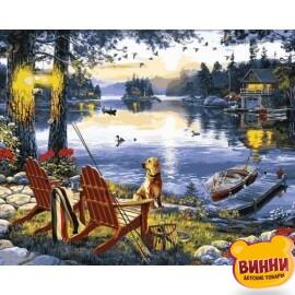 Купить картину по номерам Mariposa Рыбалка с собакой, 40*50 см Q2251