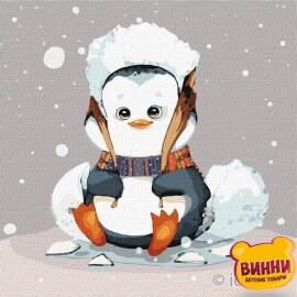 Купити картину за номерами Ідейка, Маленький пінгвінчік © Софія Нікуліна, 25*25 см KHO2372