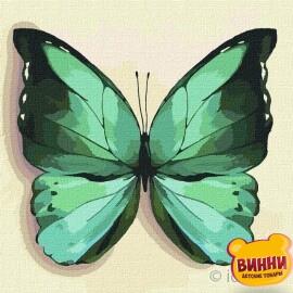 Купити картину за номерами Ідейка, Зелений метелик, 25*25 см KHO4208