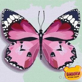 Купити картину за номерами Ідейка, Рожевий метелик, 25*25 см KHO4209