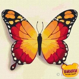 Купити картину за номерами Ідейка, Помаранчевий метелик, 25*25 см KHO4210