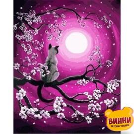 Купить картину по номерам Babylon Мартовская ночь, кот, кошка на ветке, при луне, 40*50 см VP658