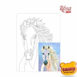 Купить холст с контуром 30*40 см в пленке, ROSA START Лошадь. Животные №4