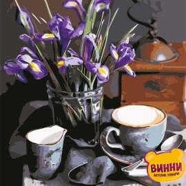 Картина по номерам 50*65 см AS0631 Кофе и ирисы