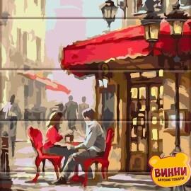 Роспись по номерам на дереве Уличное кафе 30*40 см, ASW062