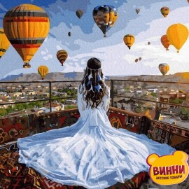 Купити картину за номерами RainbowArt Принцеса та повітряні кулі, 40*50 см, GX37984