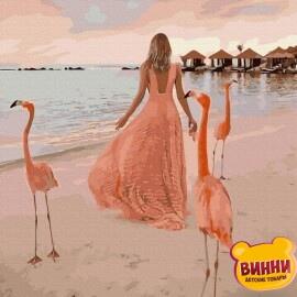 Купити картину за номерами RainbowArt Дівчина з фламінго, 40*50 см, GX39519