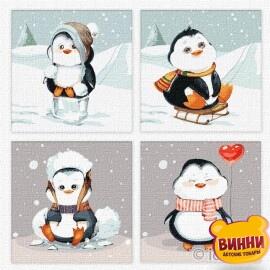 Купити поліптих. Картини за номерами Весела зима © Софія Нікуліна, 25х25х4 шт, KNP020
