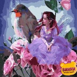 Купити картину за номерами RainbowArt Дівчинка з пташкою, 40*50 см, GX31686