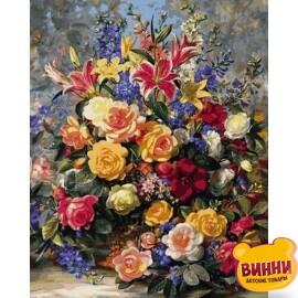 Купить картину по номерам Mariposa Роскошный букет розы и лилии, 40*50 см Q2165