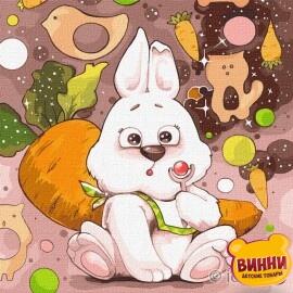 Купити картину за номерами Ідейка, Чарівний зайка, зайчики, кроленя © Софія Нікуліна, 30*30 см KHO4215