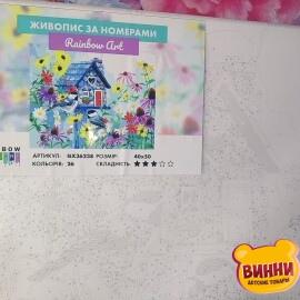 Купити картину за номерами RainbowArt Хатинка у квітах, пташки синички 40*50 см, GX36238