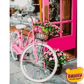 Купити картину за номерами STRATEG Квітковий велосипед, 40*50 см, VA-0854