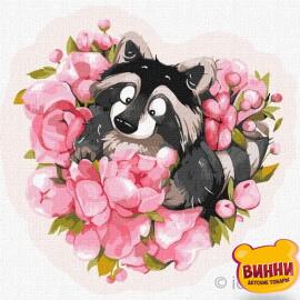Купити картину за номерами Ідейка, Закоханий єнот © Софія Нікуліна, 30*30 см KHO4222