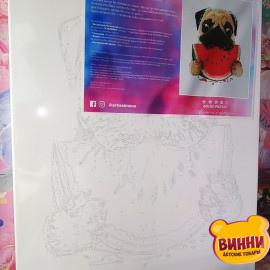Купити картину за номерами Artissimo Мопс з кавунчиком 40*50 см, PN2320