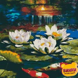 Купити картину за номерами Riviera Захід сонця, Японські коропи коі, латаття 40*50 см, RB-0457