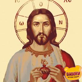 Купити картину за номерами ікону Riviera Blanca, Ікона Ісус в серці, 40*50 см, RBI-008