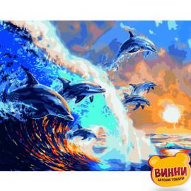 Купити картину за номерами STRATEG Зграя дельфінів, 40*50 см, VA-2624