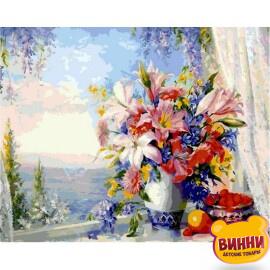 Купить картину по номерам Babylon Premium Лилии на окне, букет (в раме), 40*50 см, NB330