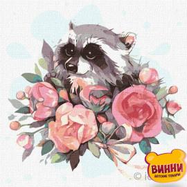 Купити картину за номерами Ідейка, Квітучий єнот © Софія Нікуліна, 30*30 см KHO4225