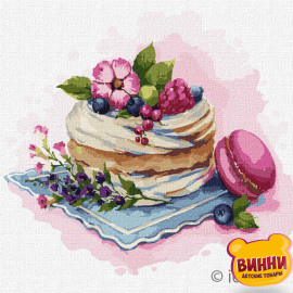 Купити картину за номерами Ідейка, Маленькі солодощі, макаруни, ягідний десерт © Олена Вавіліна, 25*25 см KHO5607