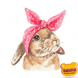 Купити картину за номерами Strateg Кролик з бантом, 30*40 см, SV-0003