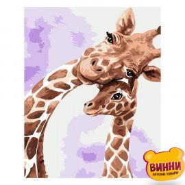Купити картину за номерами Strateg Жирафа з дитинчам, 30*40 см, SV-0014