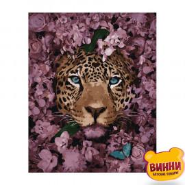 Купити картину за номерами Strateg Леопард серед квітів, 40*50 см, VA-2869